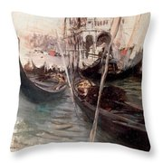 Pier And Saint Marc In Venice Throw Pillow