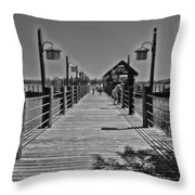 Pier At Fort Wilderness In Black And White Walt Disney World Throw Pillow