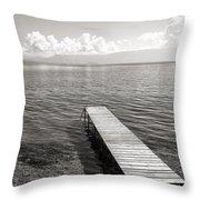 Pier At Lake Ohrid Throw Pillow