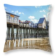 Pier At Low Tide Throw Pillow