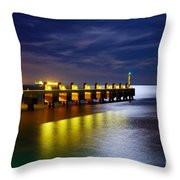 Pier At Night Throw Pillow by Carlos Caetano