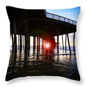 Pier At Sunset Throw Pillow