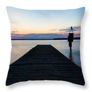 Pier At Sunset Throw Pillow