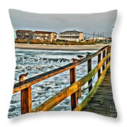 Pier Fishing 2 Throw Pillow