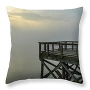 Pier In The Fog Throw Pillow