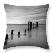 Pier Into The Past Black And White Throw Pillow