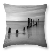 Pier Into The Past Bw 16x9 Throw Pillow