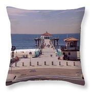 Pier Over An Ocean, Manhattan Beach Throw Pillow