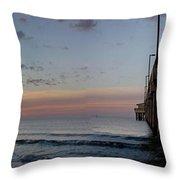 Pier Panorama At Sunrise  Throw Pillow by Michael Thomas