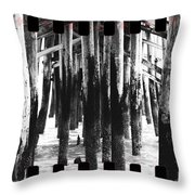 Pier Pilings Black And White Throw Pillow
