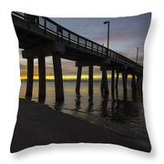 Pier Sunrise On A Cold January Morning Throw Pillow