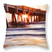 Pier Sunrise Too Throw Pillow