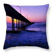 Pier Sunset Ocean Beach Throw Pillow