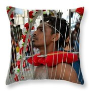 Pierced Hindu Devotee Wears Kavadi At Thaipusam Singapore Throw Pillow