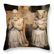 Pierre Jeannin And His Wife Sculpture Cathedral Autun Throw Pillow