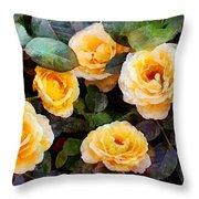 Pierre's Peach Roses Throw Pillow
