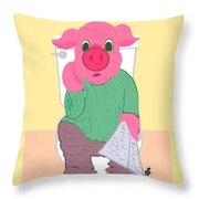Pig On The Hopper Throw Pillow
