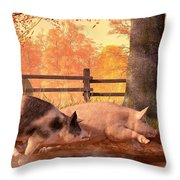 Pig Race Throw Pillow