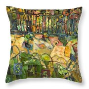 Pig Racing In Belturbet Ireland Throw Pillow by Jen Norton