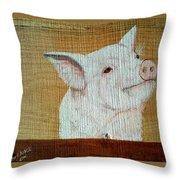 Pig Smile Throw Pillow