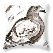Pigeon I Sumi-e Style Throw Pillow