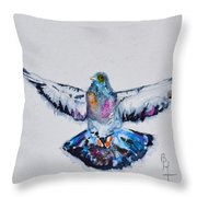 Pigeon In Flight Throw Pillow