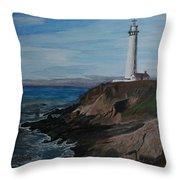 Pigeon Lighthouse Daytime Titrad Throw Pillow