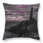 Pigeon Lighthouse Impasto Sunset Monochromatic Throw Pillow