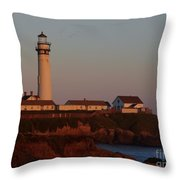 Pigeon Point Lighthouse At Sunset Throw Pillow