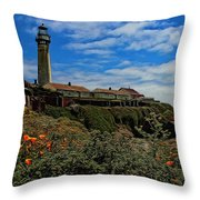 Pigeon Point Lighthouse Painted Throw Pillow