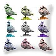 Pigeon Pop Art 5516 - Fs - Wb - M-  Modern Animal Artist James A Throw Pillow