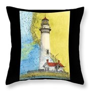 Pigeon Pt Lighthouse Ca Nautical Chart Map Art Throw Pillow