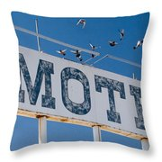 Pigeon Roost Motel Sign Throw Pillow