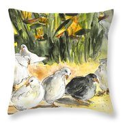 Pigeons In Benidorm Throw Pillow