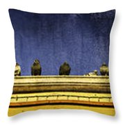 Pigeons On Yellow Roof Throw Pillow