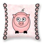 Piggy - Animals - Art For Kids Throw Pillow