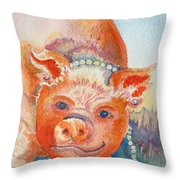 Piggy In Pearls Throw Pillow