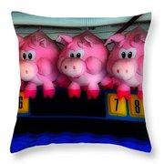 Piggy Race Throw Pillow