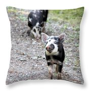 Piglets On The Loose Throw Pillow