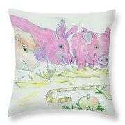 Pigs Cartoon Throw Pillow