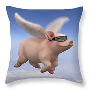 Pigs Fly 1 Throw Pillow by Mike McGlothlen