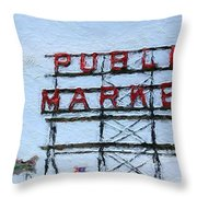 Pike Place Market Throw Pillow by Linda Woods