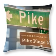 Pike Place Market Sign Throw Pillow