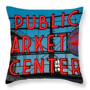 Pike Place Public Market Seattle Throw Pillow