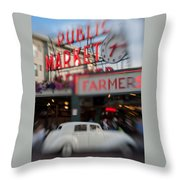 Pike Place Publice Market Neon Sign And Limo Throw Pillow