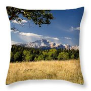 Pikes Peak And Snow Throw Pillow
