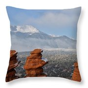 Pikes Peak In The Clouds Throw Pillow
