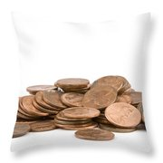 Pile Of American Pennies On White Background Throw Pillow