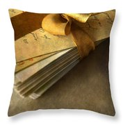 Pile Of Letters With Golden Ribbon Throw Pillow