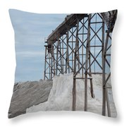 Pile Of Sea Salt Under Conveyor Of Saline Refinery Throw Pillow
